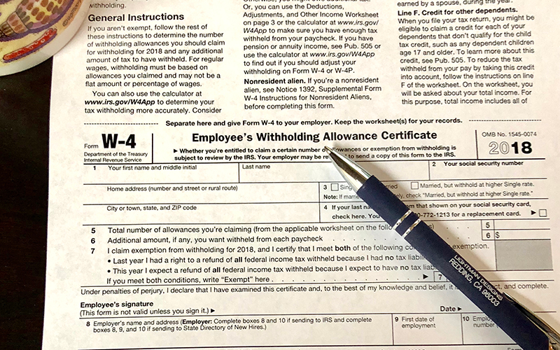IRS W-4 2018 Is Updated & Released