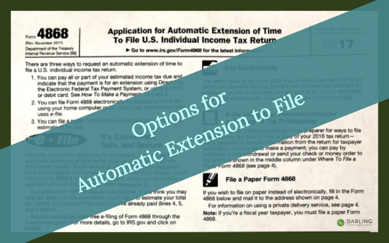 Options For Automatic Extension To File Darling Accounting Tax
